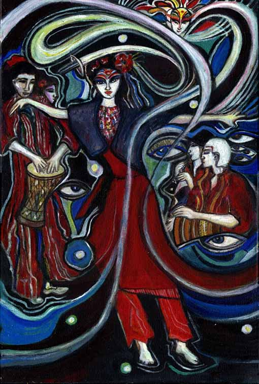 Artwork of Sadie purple and red woman dancing by Gera